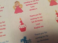 24 Personalised 1st Birthday Girl Cupcake Party Bag Label Stickers
