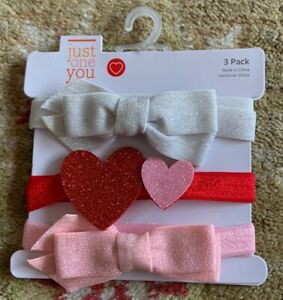 CARTER'S JUST ONE YOU VALENTINE'S SET OF 3 GLITTERY HAIR BOW HEADBANDS-NWT!