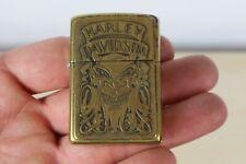 More details for vintage harley davidson devil zippo lighter 1990's brass usa