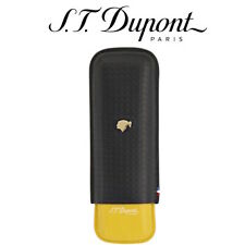 NEW ST Dupont Cohiba Collection  Leather Cigar Case Double Black & Yellow 184010