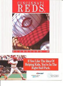 1994 Cincinnati Reds Philadelphia Phillies Scorecard Riverfront  Barry Larkin