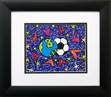 "Romero Britto ""Soccer-Homage to PELE"" NEWLY CUSTOM FRAMED Pop Art  World Cup"