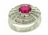 3.18ct Rubis & Diamant Serti Bague 14k or Blanc