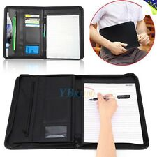 A4 Conference Folder PU Portfolio ZIPPED Leather LOOK Organiser Case