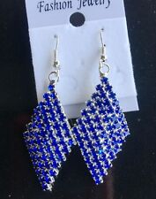 New Fashion Women Square blue Crystal Luxury Sparkling Big Drop Earrings
