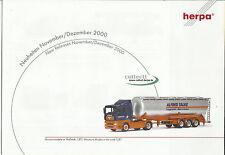 Catálogo Herpa novedades de noviembre/diciembre de 2000 maquetas de coches + accesorios ho 1:87