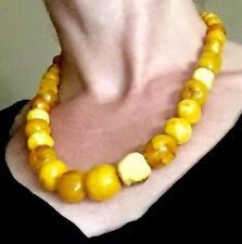 14k OLD 65g ART DECO NATURAL EGG YOLK BUTTER SCOTCH CARAMEL amber necklace