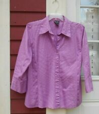 Rafaella Purple Size 16 Stretch 3/4 Sleeve Button Down Cotton Blend Shirt EUC