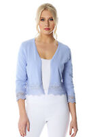 Roman Originals Womens Lace Trim 3/4 Length Sleeve Shrug