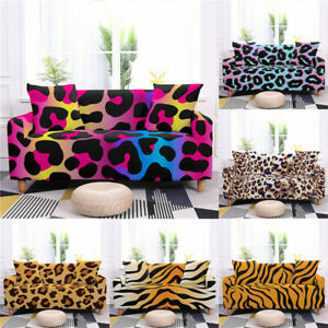 Hot 1/2/3/4 Seater Sofa Cover Animal Skin Leopard Print Tiger Pattern Slipcovers