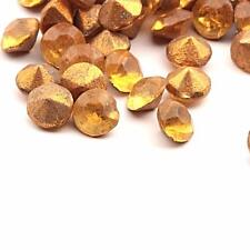 Lot (95) ss18 vintage Czech foiled round faceted topaz glass rhinestones
