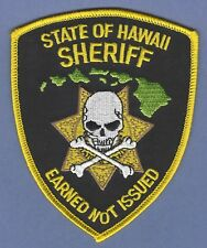 HAWAII STATE SHERIFF POLICE SHOULDER PATCH SKULL