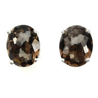 Natural Oval Smoky Quartz 10x8mm White Gold Plate 925 Sterling Silver Earrings