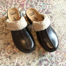 New Clarks Collection Soft Cushion Clogs Leather Upper Slide On Size 5.5