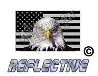 """1- 4"""" Subdued Tactical American Flag Decal with EAGLE Reflective Sticker FORWARD"""