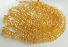 """7"""" AAA golden CITRINE faceted large gem stone rondelle beads 5mm - 7mm yellow"""