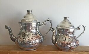 Hand-Engraved Nickel Copper Teapot with Lids,Floral Motifs, 2 Pieces Turkish