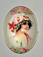 2 of 40x30 mm Victorian Floral Flapper Hat Colorful Art Deco Woman Glass Cameos