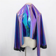 Metallic Laser Stretch Fabric Purple Turquoise Holographic Craft Material