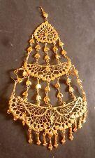 22 K Gold Plated Indian pakistani Wedding Hair Pasa Jhumar Head Set 15 cm Long
