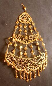 22 K Gold Plated Indian pakistani Wedding Hair Pasa Jhumar Head Set 15 cm Long