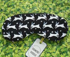 Eye Sleep Mask Bunny Rabbit Cotton Black Travel Blackout Relax UK Made Cute Gift