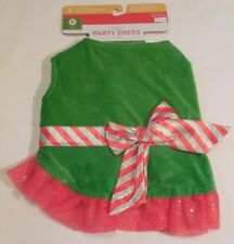 Christmas PARTY Dress Dog Small  5-15 lbs Pet NEW Bow Red Green NWT Holiday S