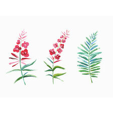 Waterproof Temporary Fake Tattoo Stickers Pink Red Flowers Green Leaf Unique