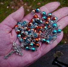 Filigree teal/orange metallic glass bead rosary crystal handmade prayer tibet
