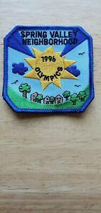 Spring Valley Neighborhood 1996 Olympics patch sun houses trees 96