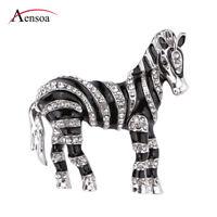 Alloy Enamel Crystal Zebra Brooch Pins for Women Sweater Scarf Clip Accessories