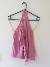 NWT BCBGMAXAZRIA Rose bloom stretch Halter Top Tee size S Pink RRP $86 Rayon