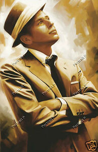 Frank Sinatra Oil Painting Portrait Hand-Painted Art on Canvas Not a Print 36x48