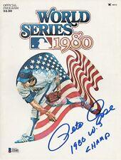 "Pete Rose Signed 1980 World Series Baseball Program ""1980 WS Champs"" Beckett"