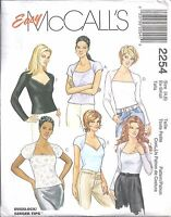 McCall's Sewing Pattern #2254 Misses Stretch Knit Tops Size Ex Sm 4-6