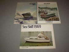 Lot of 3 Chris Craft Sea Skiff 1967 1968 1969 Sales Brochures MINT