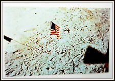 Lot of Ten(10) United States Flag on Moon Vintage Nasa Full Color 1971 Postcard