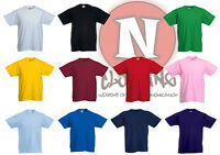 Fruit of the Loom blank plain Childrens Kids t-shirt 1-13 years school PE games
