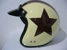 Vintage Scooter Vespa Helmet Moto Ivory Brown Star NEW