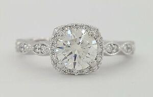 1 ct Platinum Round Brilliant Cut Diamond Halo Engagement Ring Retail $6,000