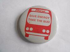 Cool Vintage PA Transit Save Energy Take the Bus Promo Advertising Pinback