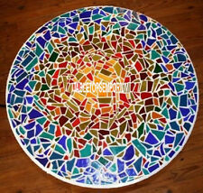24'' White Marble Round Corner Side Top Table Mosaic Stone Inlay Christmas Decor