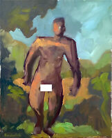 """Man Male Nude Figure Abstract Cubist Oil Painting 16""""x20"""" Original Signed"""