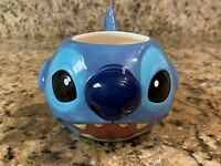 Disney Store Exclusive Stitch 3D Raised Face Coffee Cup Tea Mug Soup Lilo 16 Oz