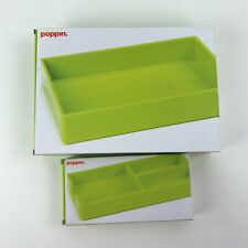 Poppin Desk Accessory Set 2 Pieces  Accessory Tray and Bits + Bobs Tray Green