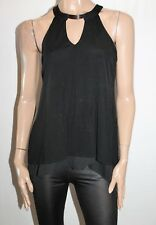 WITCHERY Brand Black Layered Open Back High Neck Top Size M BNWT #SZ37