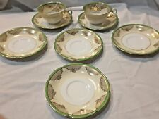Noritake Japan China 2 Cups 6 Saucers Green Gold Handpainted
