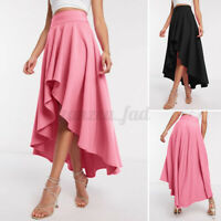UK Womens Asymmetric Pleated Swing Ladies Long Maxi Gypsy Skirt Party Dress 8-26
