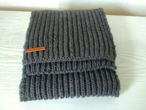 Charcoal Grey Handmade Hand-knitted Scarf  24 x170cm