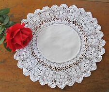 Round White LINEN DOILY Lush Hand Crochet edge Vintage Table Shabby Chic Craft